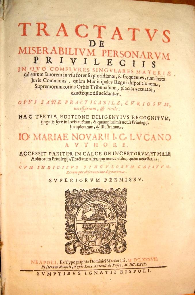 Navario 337G Tractatvs de miserabilivm personarvm privilegiis