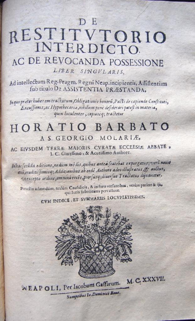 Barbato 337G De restitutorio interdicto ac de reuocanda possessione liber singularis .