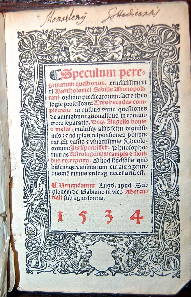 379g Speculum peregrinarum questionum eruditissimi viri Bartholomei Sibille Monopolitani ordinis predicatorum