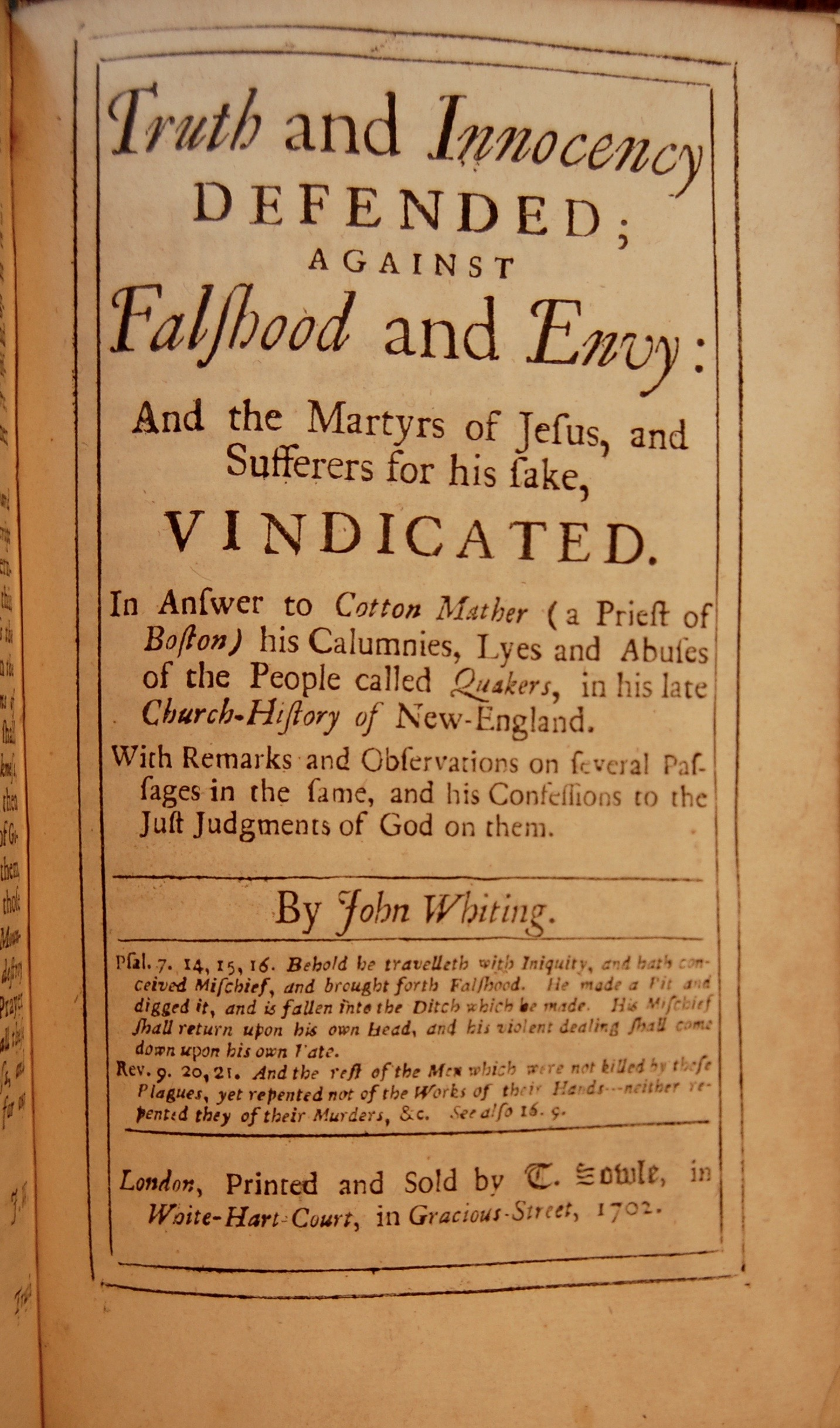 A vindication of a book, intituled, A brief account of many of the prosecutions of the people called