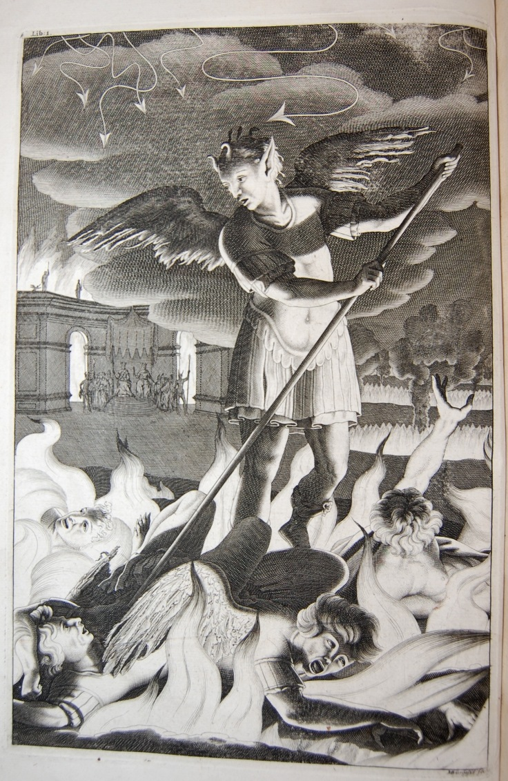 "Plate from Book one attributed to Henry Aldrich ""Satan Rousing the Rebel Angels"""