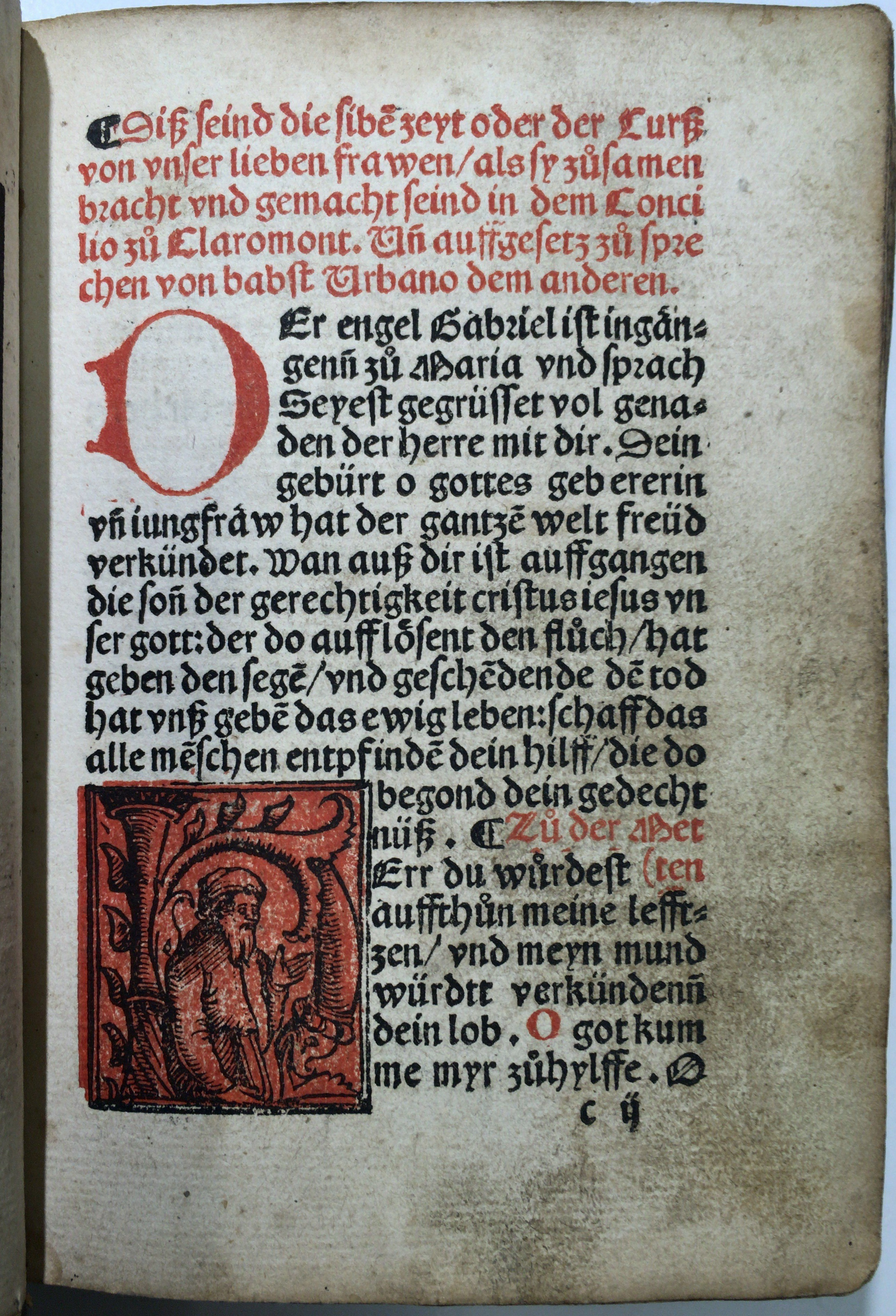 """Leaf c2r of the Lea Library's """"Seelengärtlein"""" (Basel?: Pamphilus Gengenbach?, between 1515 and 1520?) with red and black inhabited woodcut initial H."""